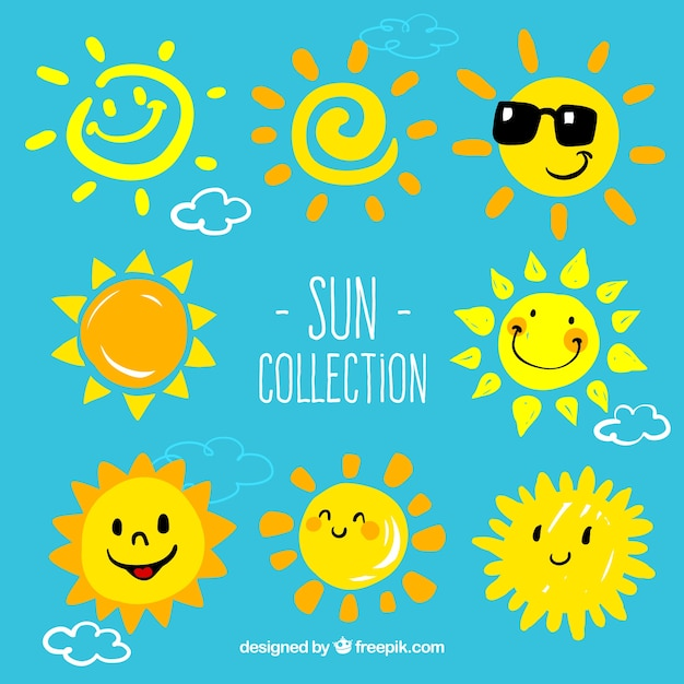 Cartoon suns collection Premium Vector
