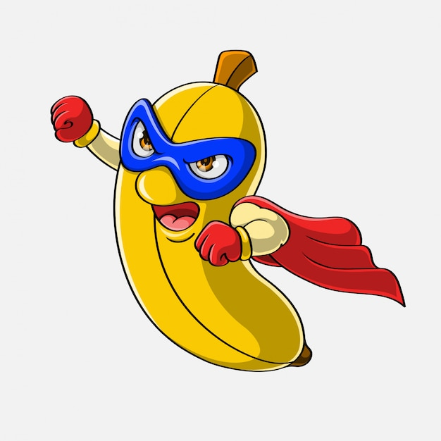Cartoon super hero banana flying, hand drawn Premium Vector