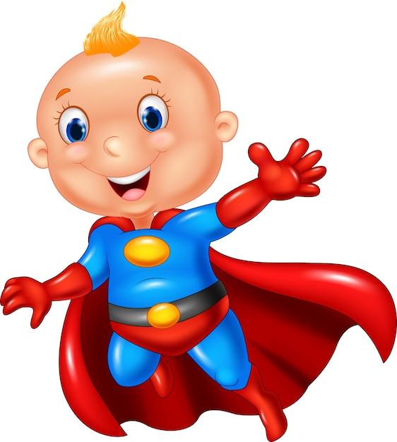 Cartoon superhero boy Premium Vector