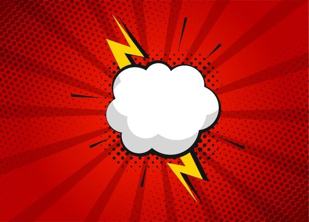 빨간색 배경에 만화 슈퍼 히어로 거품 대화 장면 및 음향 효과. 구름과 연설 거품과 더불어 재미있는 만화 스크랩북 페이지. 만화 페이지 레이아웃. 기호 및 음향 효과. 프리미엄 벡터