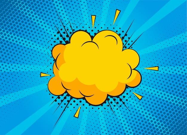Мультфильм супергероя пузырь диалоговые сцены на синем фоне. страница записки смешные комиксы с облаком и речи пузырь. верстка комиксов. символы и звуковые эффекты. Premium векторы