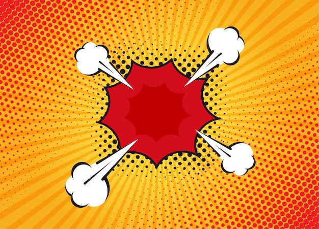 Мультфильм супергероя пузырь диалоговые сцены на желтом фоне. страница записки смешные комиксы с облаком и речи пузырь. верстка комиксов. символы и звуковые эффекты. Premium векторы