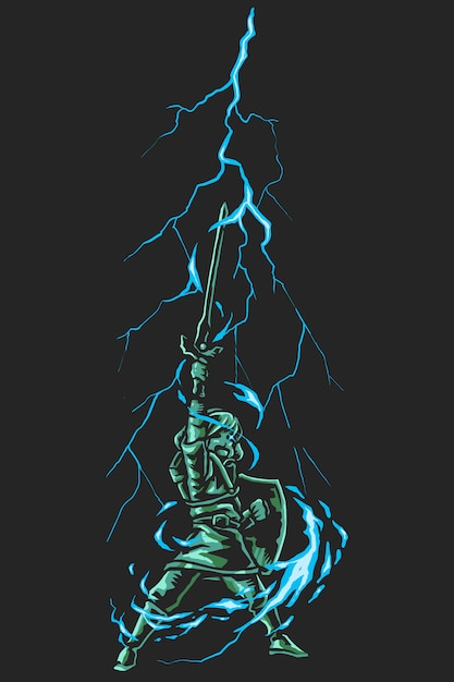 Cartoon superhero thunder sword Premium Vector