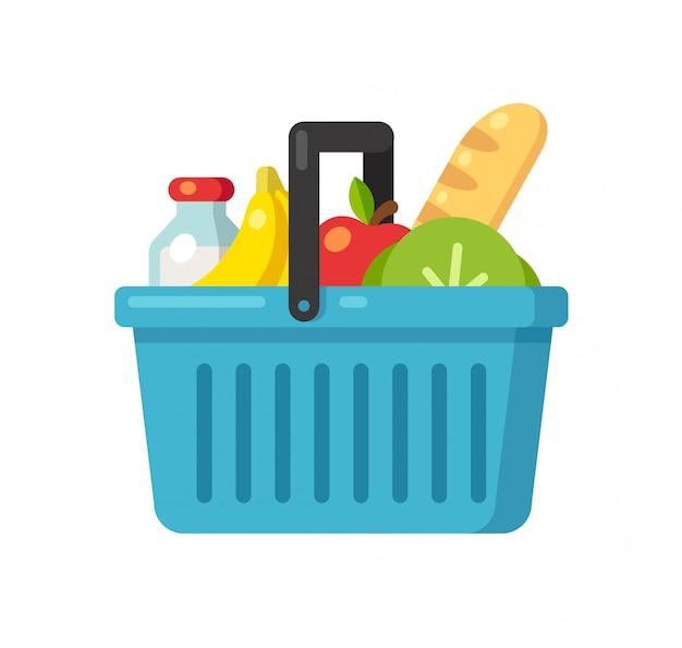Cartoon supermarket basket icon with food. Premium Vector