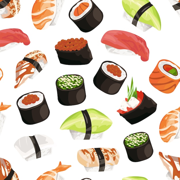 Cartoon sushi types pattern Premium Vector