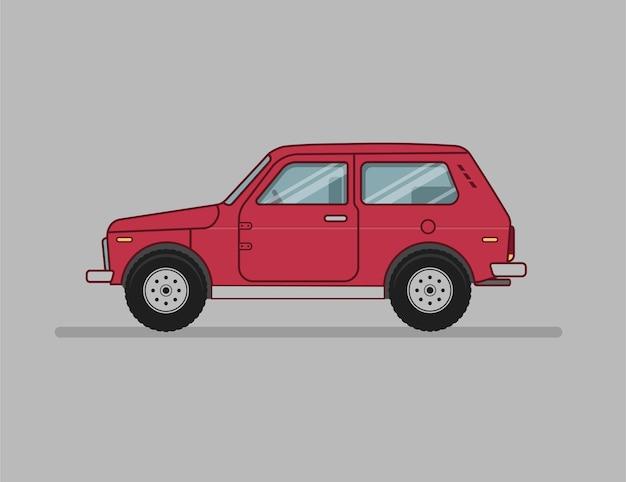Мультяшный внедорожник, плоский значок автомобиля, вид сбоку авто Premium векторы