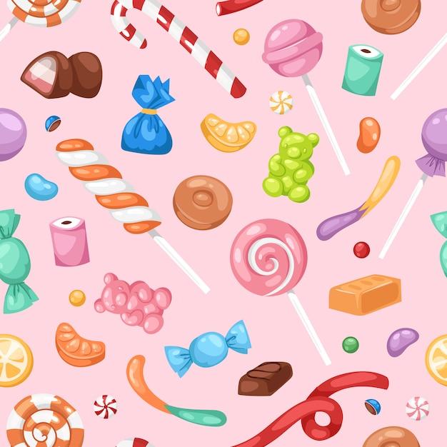 Cartoon sweet bonbon sweetmeats candy kids food sweets mega collection seamless pattern background Premium Vector