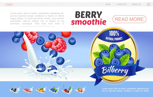 Cartoon sweet natural smoothies webpage template with raspberry bilberry cranberry currants cherry gooseberry in milk splashes and blueberry label Free Vector