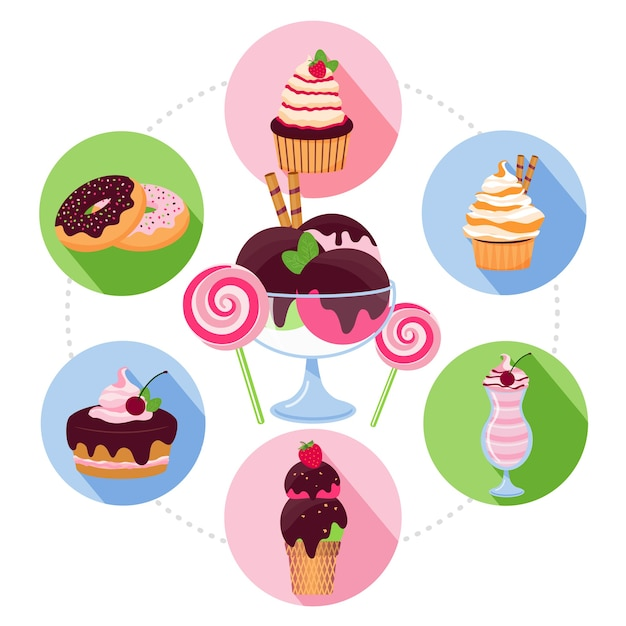 Cartoon sweet products concept Free Vector