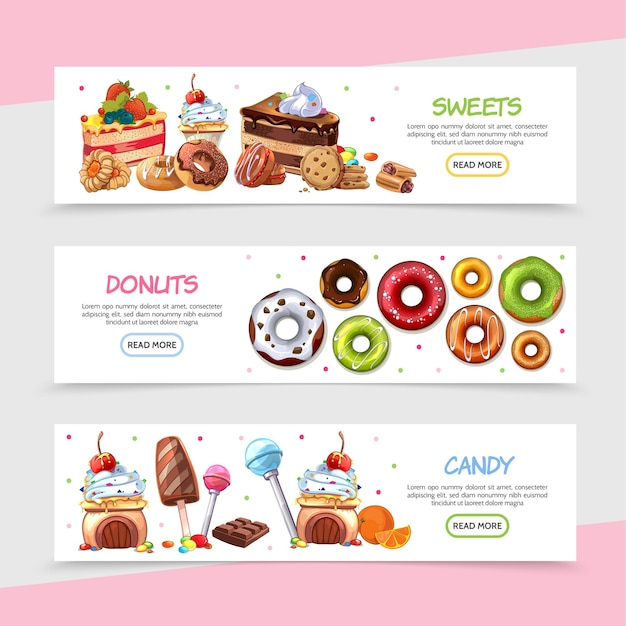 Cartoon sweet products horizontal banners with bright candies cakes ice cream chocolate bar Free Vector