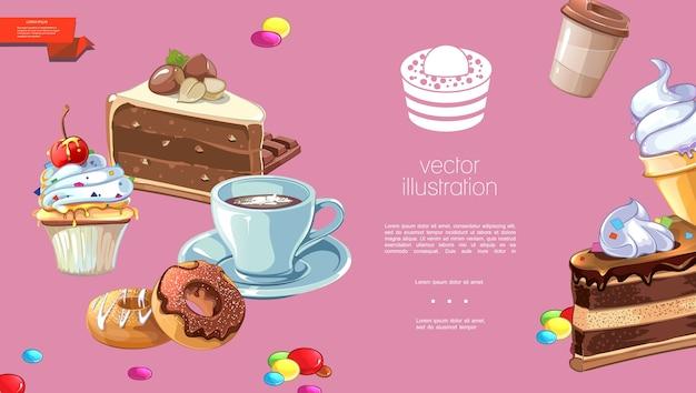Шаблон мультяшных сладких продуктов Бесплатные векторы