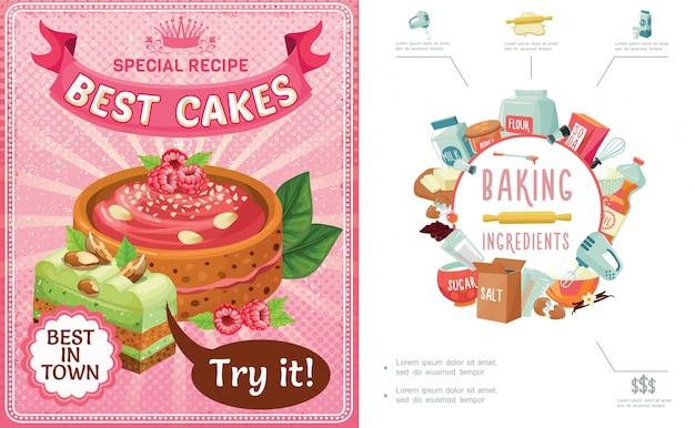漫画のお菓子カラフルな組成のベーキングツール成分ケーキとラズベリーナッツのパイ作品 無料ベクター