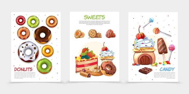 Мультяшные сладости постеры Бесплатные векторы