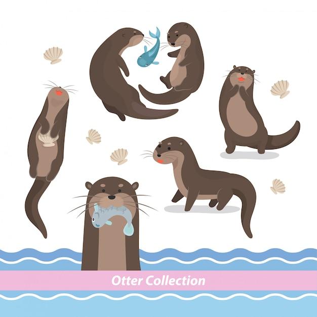 Cartoon swimming otter Vector | Premium Download