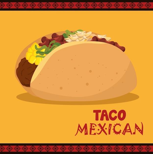Cartoon taco food mexico design isolated Free Vector