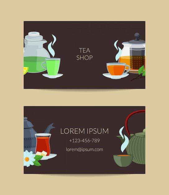 Cartoon tea kettles and cups business card Premium Vector