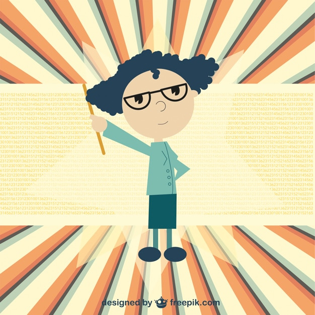 Cartoon teacher Free Vector