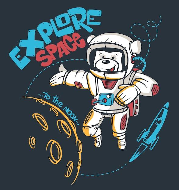 Cartoon teddy bear astronaut, space graphic,  t-shirt print. Premium Vector