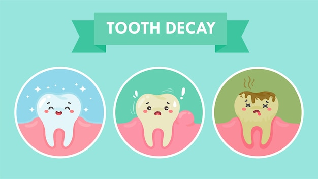 Cartoon teeth and gums inside the mouth are happy with the problem of tooth decay. there are plaque on the teeth. Premium Vector