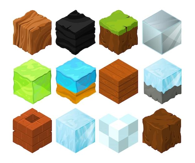 Cartoon texture illustration on different isometric blocks for game design Premium Vector
