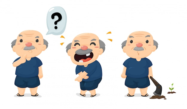 Cartoon thai farmers in a variety of emotions, happy and surprised. Premium Vector