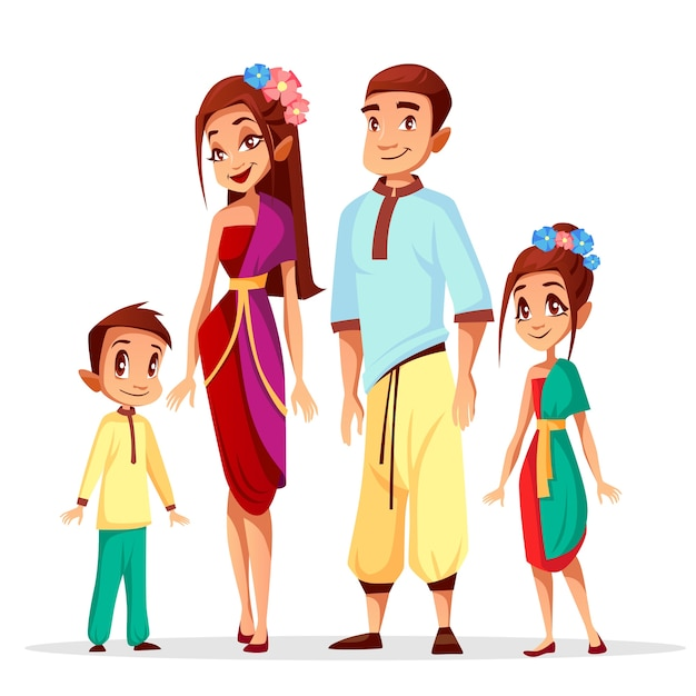 Cartoon Thai people characters of family, woman\ and man with children or kids