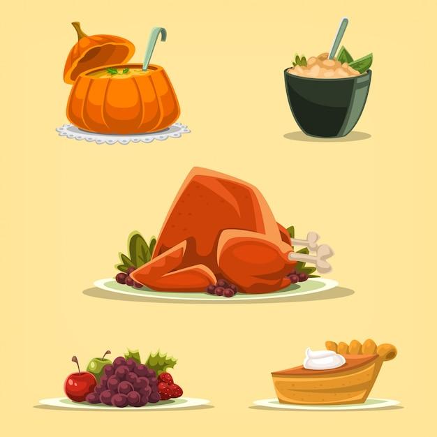 Cartoon thanksgiving roasted turkey isolated illustration Premium Vector