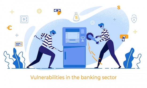 Cartoon thieves damage atm vulnerabilities in bank Premium Vector