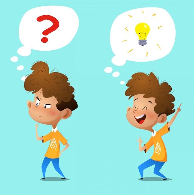 Cartoon thinking boy. emotions and gestures. Premium Vector