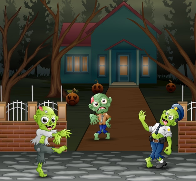 Cartoon three zombie in front of the scary house Premium Vector