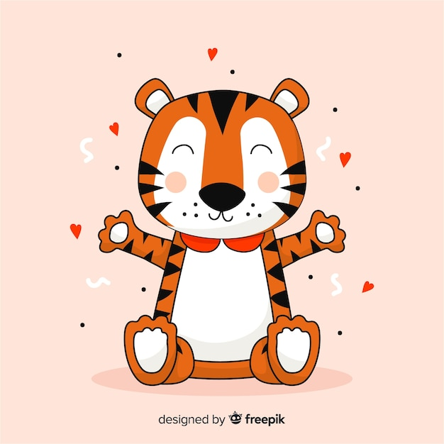 Cartoon tiger background Free Vector