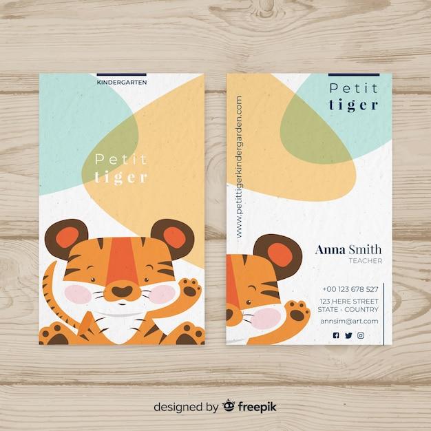 Cartoon tiger business card template Free Vector