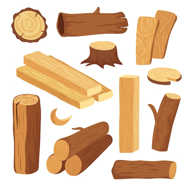 Cartoon timber. wood log and trunk, stump and plank. wooden firewood logs elements. hardwoods construction materials vector isolated set Premium Vector