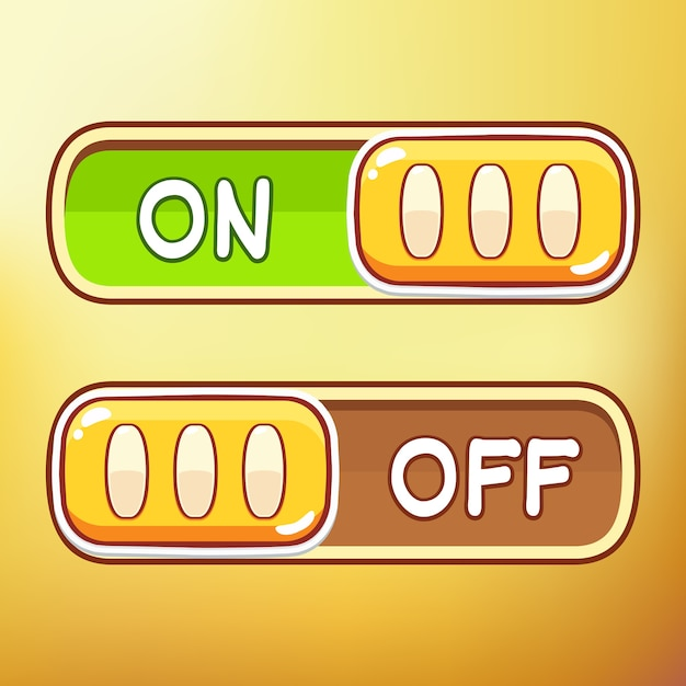 Cartoon Toggle Switch Different symbols asset Vector | Premium Download