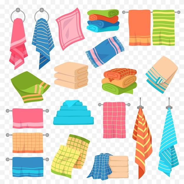 漫画タオル。キッチン、ビーチ、バスハンギング、タオルの積み重ね。スパ衛生繊維オブジェクトのカラフルな綿の柔らかさテリーふわふわタオルコレクションのロール Premiumベクター