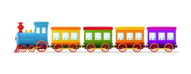 Мультфильм игрушечный поезд с цветными вагонами на белом фоне. Premium векторы