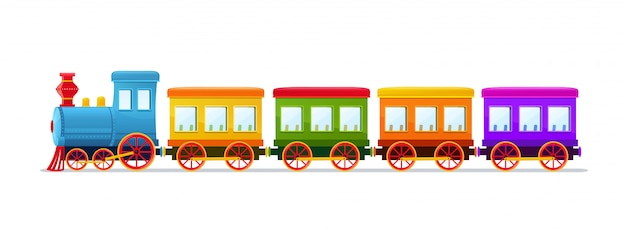 Cartoon toy train with color wagons on white background. Premium Vector
