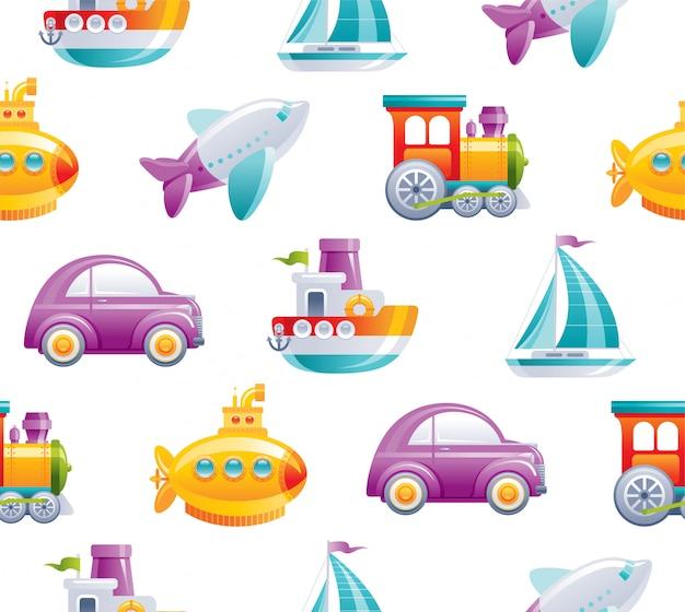 Cartoon toy transport seamless pattern. cute 3d boy style. boat, car, airplane, yellow submarine, sail ship, train, rocket wallpaper design. Premium Vector