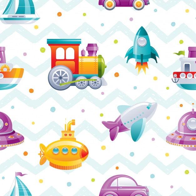Cartoon toy transport seamless pattern. cute boy boat, car, airplane, submarine, sail ship, train, rocket, wallpaper design. Premium Vector