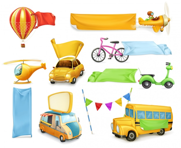 Cartoon transportation, cars and airplanes with banners and flags, set of vector graphic elements Premium Vector