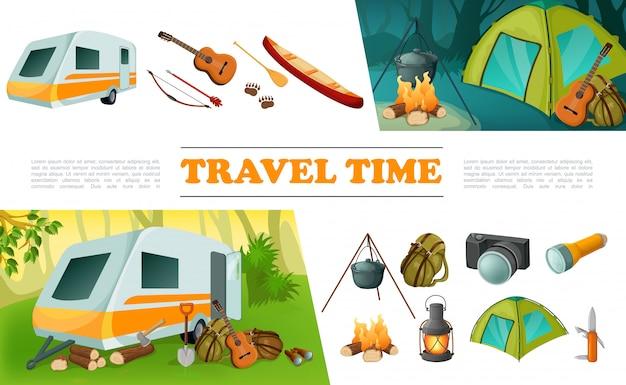 Insieme di elementi di campeggio di viaggio del fumetto con il rimorchio del campeggiatore chitarra arco freccia freccia canoa zaino fotocamera torcia falò coltello tenda lanterna Vettore gratuito