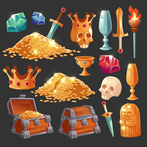 Cartoon treasure chest with golden coins, crystal magic gems, human skull in crown, sword in gold pile and goblet with precious rocks, ancient statue and burning torch vector illustration, icons set Free Vector