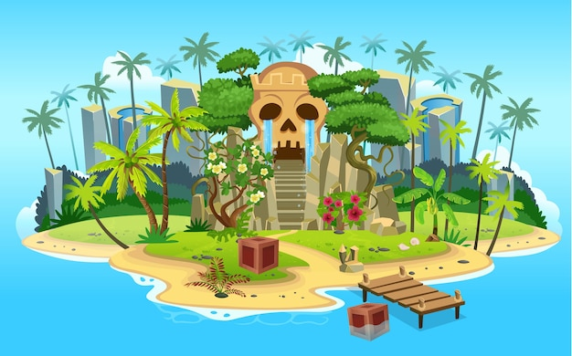 Cartoon tropical island with skull mountain cave with stairs, palm trees. mountains, blue ocean, flowers and vines. Premium Vector