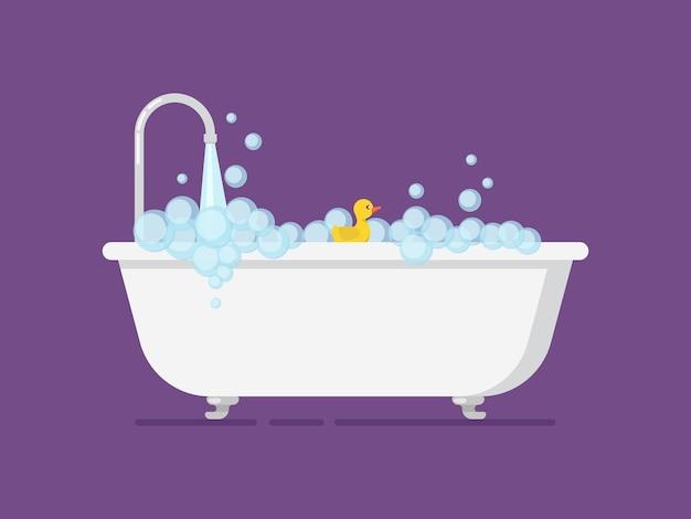 Cartoon tub full foam with open tap. Premium Vector