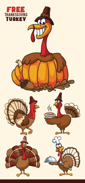 Cartoon turkeys vector set