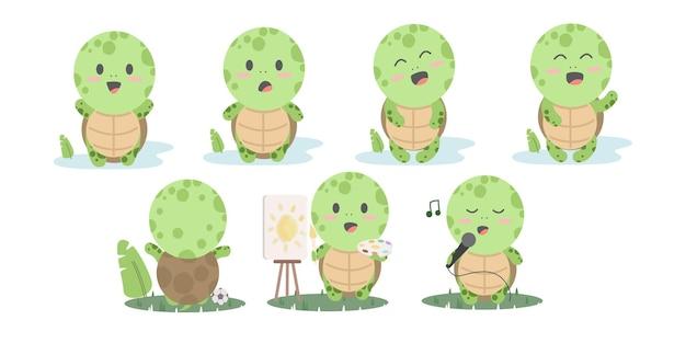 만화 거북이. 거북이 컬렉션을 실행하는 행복 한 재미있는 동물. 친절하고 활발하고 활기찬 거북이의 그림 프리미엄 벡터