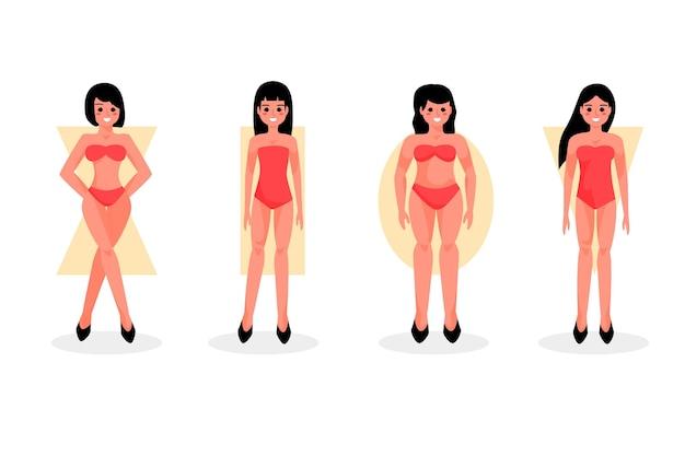 Мультяшные типы женских фигур Бесплатные векторы