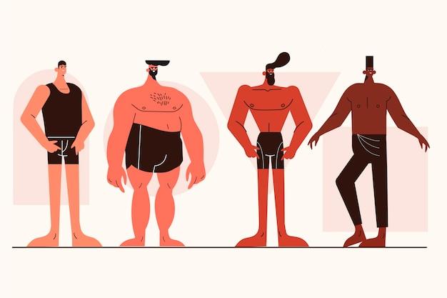 男性の体型パックの漫画タイプ 無料ベクター