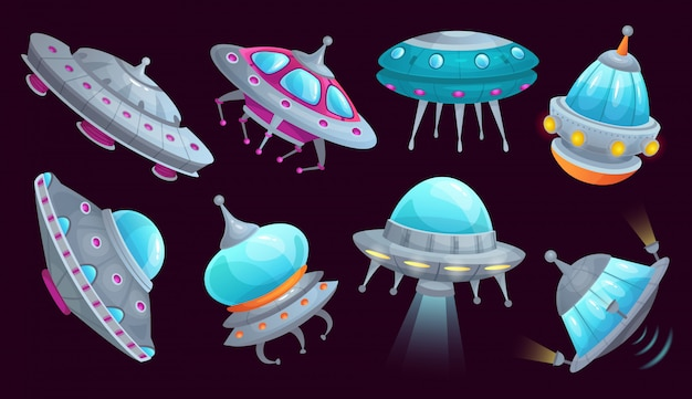 Cartoon ufo spaceship. alien spacecraft futuristic vehicle, space invaders ship and flying saucer isolated  set Premium Vector