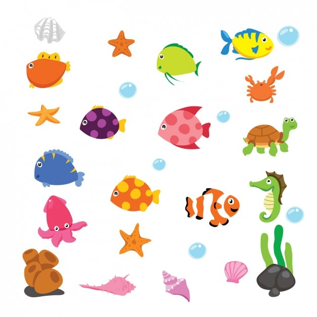Cartoon underwater animals Free Vector